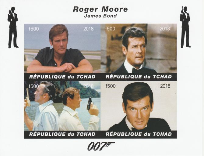 Chad 2018 James Bond - Roger Moore imperf sheetlet containing 4 values unmounted mint. Note this item is privately produced and is offered purely on its thematic appeal.