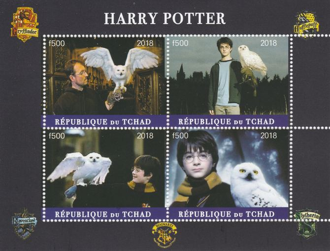 Chad 2018 Harry Potter #1 perf sheetlet containing 4 values unmounted mint. Note this item is privately produced and is offered purely on its thematic appeal, it has no postal validity
