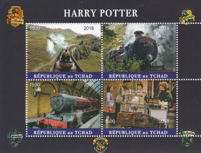 Chad 2018 Harry Potter #2 perf sheetlet containing 4 values unmounted mint. Note this item is privately produced and is offered purely on its thematic appeal, it has no postal validity