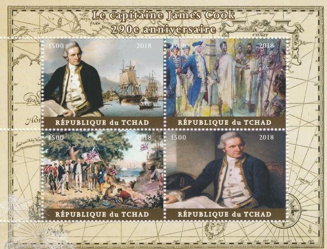 Chad 2018 290th Birth Anniversary of James Cook perf sheetlet containing 4 values unmounted mint. Note this item is privately produced and is offered purely on its thematic appeal, it has no postal validity