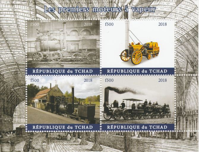 Chad 2018 Early Steam Locomotives perf sheetlet containing 4 values unmounted mint. Note this item is privately produced and is offered purely on its thematic appeal.