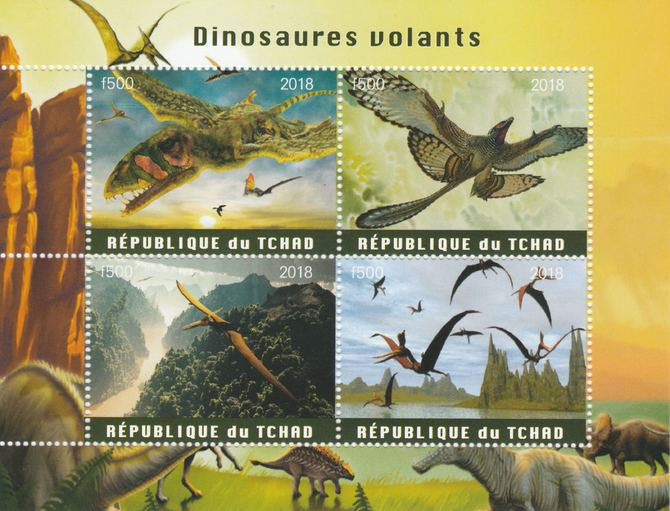 Chad 2018 Flying Dinosaurs perf sheetlet containing 4 values unmounted mint. Note this item is privately produced and is offered purely on its thematic appeal, it has no postal validity