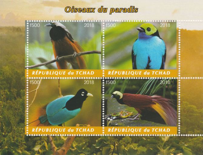 Chad 2018 Birds of Paradise perf sheetlet containing 4 values unmounted mint. Note this item is privately produced and is offered purely on its thematic appeal, it has no...