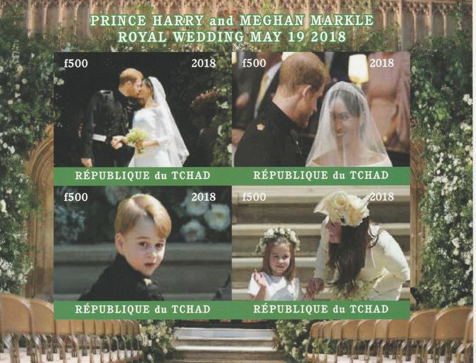 Chad 2018 Royal Wedding #1 Harry & Meghan imperf sheetlet containing 4 values unmounted mint. Note this item is privately produced and is offered purely on its thematic appeal, it has no postal validity