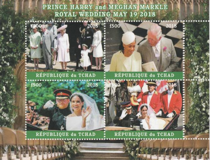 Chad 2018 Royal Wedding #3 Harry & Meghan perf sheetlet containing 4 values unmounted mint. Note this item is privately produced and is offered purely on its thematic app...