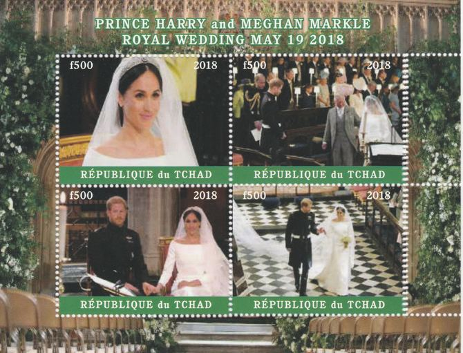 Chad 2018 Royal Wedding #4 Harry & Meghan perf sheetlet containing 4 values unmounted mint. Note this item is privately produced and is offered purely on its thematic appeal, it has no postal validity