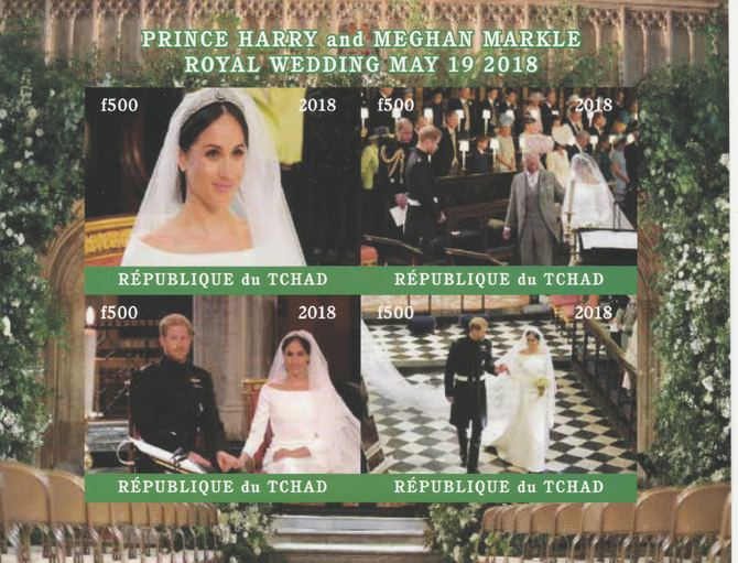 Chad 2018 Royal Wedding #4 Harry & Meghan imperf sheetlet containing 4 values unmounted mint. Note this item is privately produced and is offered purely on its thematic a...