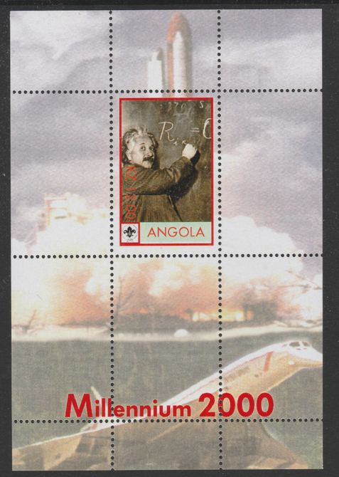 Angola 2000 Millennium 2000 - Einstein perf s/sheet (background shows Shuttle, Concorde & Scout Logo) unmounted mint with title at bottom, from alimited printing
