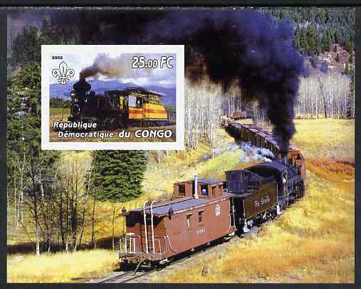 Congo 2002 Steam Locomotives imperf m/sheet with Scout Logo, unmounted mint