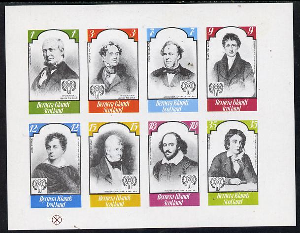 Bernera 1979 Int Year of the Child - Writers (Shelley, Byron, Scott, Shakespeare, Keats etc) imperf  set of 8 values (1p to 35p) unmounted mint