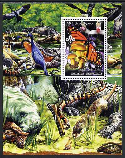 Somalia 2002 Butterflies, Orchids & Fungi #1 perf m/sheet with Scout Logo & various animals in background, unmounted mint