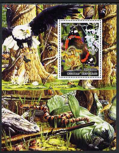 Somalia 2002 Butterflies, Orchids & Fungi #2 perf m/sheet with Scout Logo & various animals in background, unmounted mint. Note this item is privately produced and is offered purely on its thematic appeal