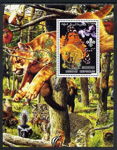 Somalia 2002 Butterflies, Orchids & Fungi #3 perf m/sheet with Scout Logo & various animals in background, unmounted mint. Note this item is privately produced and is offered purely on its thematic appeal
