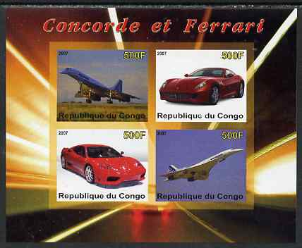 Congo 2007 Concorde & Ferrari imperf sheetlet containing 4 values unmounted mint. Note this item is privately produced and is offered purely on its thematic appeal