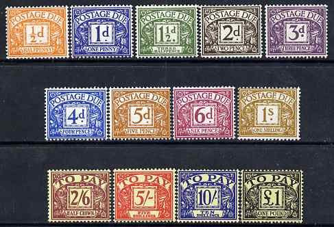 Great Britain 1959-63 Postage Due set of 13 complete 1/2d to \A31 wmk St Edwards Crown mounted mint SG D56-68