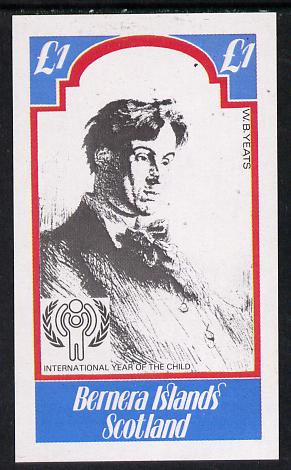 Bernera 1979 Int Year of the Child - Writers (W B Yeats) imperf souvenir sheet (�1 value) unmounted mint