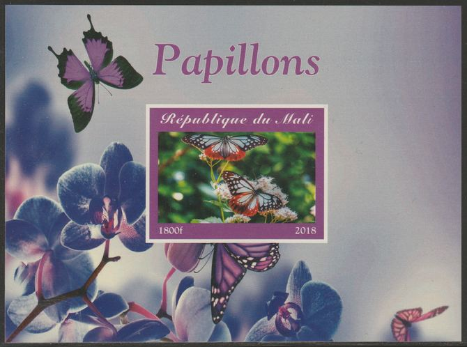 Mali 2018 Butterflies imperf souvenir sheet unmounted mint. Note this item is privately produced and is offered purely on its thematic appeal.