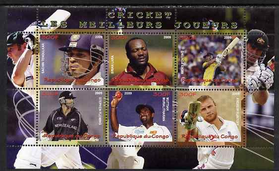 Congo 2009 Cricket Stars perf sheetlet containing 6 values unmounted mint