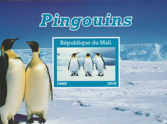 Mali 2018 Penguins imperf souvenir sheet unmounted mint. Note this item is privately produced and is offered purely on its thematic appeal.