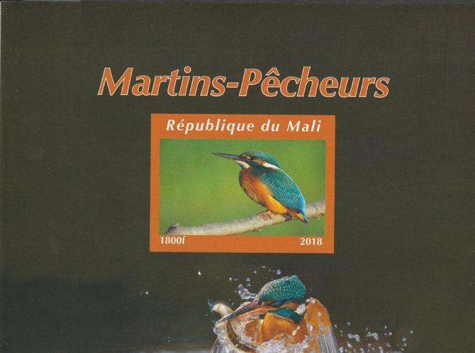 Mali 2018 Kingfishers #2 imperf souvenir sheet unmounted mint. Note this item is privately produced and is offered purely on its thematic appeal.