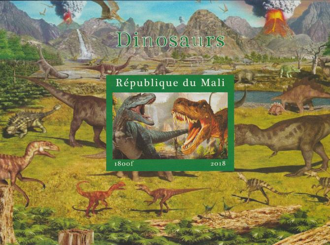 Mali 2018 Dinosaurs #1 imperf souvenir sheet unmounted mint. Note this item is privately produced and is offered purely on its thematic appeal.