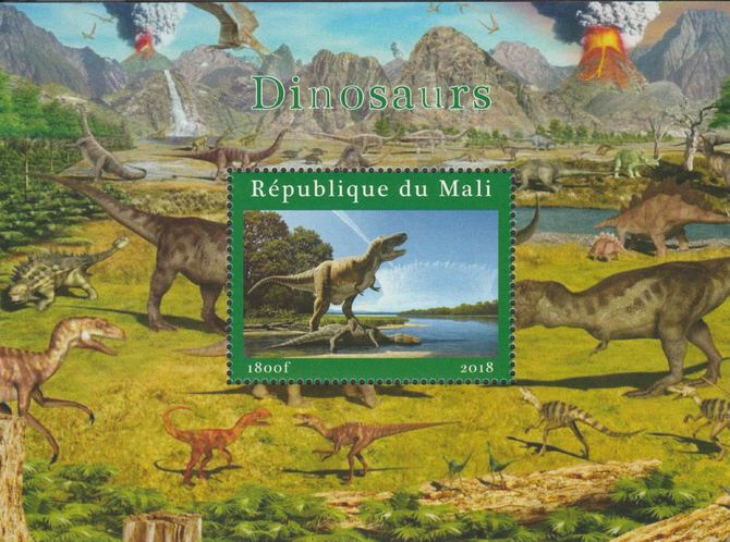 Mali 2018 Dinosaurs #2 perf souvenir sheet unmounted mint. Note this item is privately produced and is offered purely on its thematic appeal.