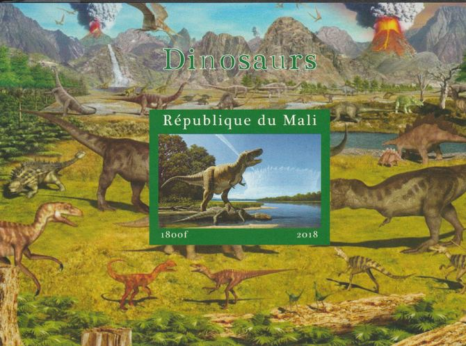 Mali 2018 Dinosaurs #2 imperf souvenir sheet unmounted mint. Note this item is privately produced and is offered purely on its thematic appeal.