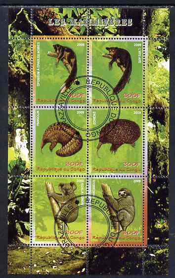 Congo 2009 Mammals perf sheetlet containing 6 values fine cto used