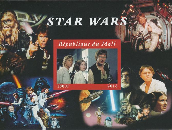 Mali 2018 Star Wars imperf souvenir sheet unmounted mint. Note this item is privately produced and is offered purely on its thematic appeal.