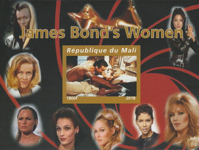Mali 2018 James Bond's Women imperf souvenir sheet unmounted mint. Note this item is privately produced and is offered purely on its thematic appeal.