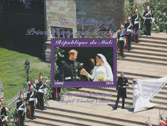 Mali 2018 Royal Wedding - Harry & Meghan perf souvenir sheet unmounted mint. Note this item is privately produced and is offered purely on its thematic appeal.