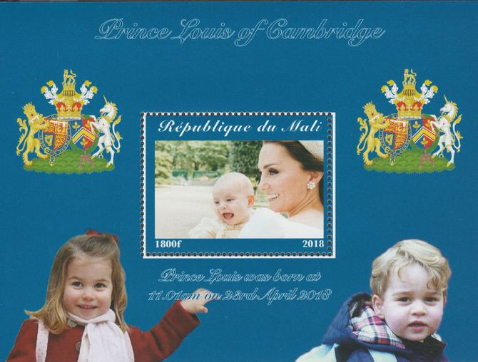 Mali 2018 Royal Birth - Prince Louis perf souvenir sheet unmounted mint. Note this item is privately produced and is offered purely on its thematic appeal.