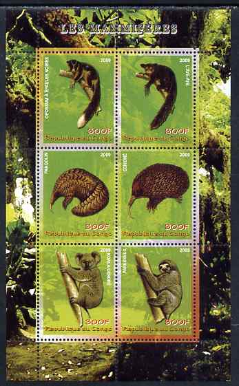 Congo 2009 Mammals perf sheetlet containing 6 values unmounted mint