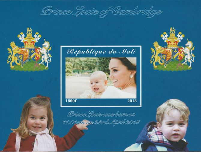 Mali 2018 Royal Birth - Prince Louis imperf souvenir sheet unmounted mint. Note this item is privately produced and is offered purely on its thematic appeal.