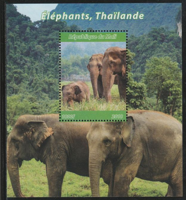 Mali 2018 Elephants of Thailand perf souvenir sheet unmounted mint. Note this item is privately produced and is offered purely on its thematic appeal. , stamps on elephants