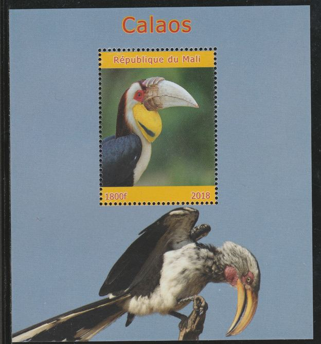 Mali 2018 Hornbills perf souvenir sheet unmounted mint. Note this item is privately produced and is offered purely on its thematic appeal.
