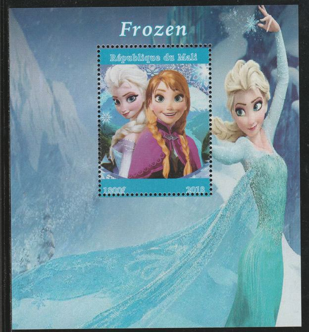 Mali 2018 Frozen (Animated Movie) perf souvenir sheet unmounted mint. Note this item is privately produced and is offered purely on its thematic appeal.