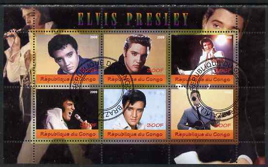 Congo 2009 Elvis Presley perf sheetlet containing 6 values fine cto used