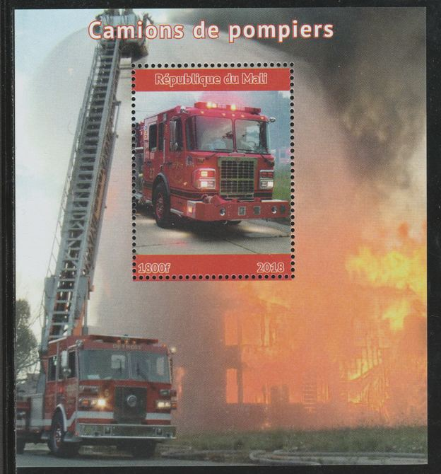 Mali 2018 Fire Trucks perf souvenir sheet unmounted mint. Note this item is privately produced and is offered purely on its thematic appeal.