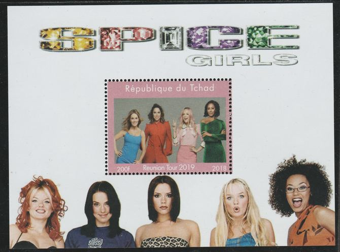 Chad 2018 Spice Girls Reunion perf souvenir sheet unmounted mint. Note this item is privately produced and is offered purely on its thematic appeal.
