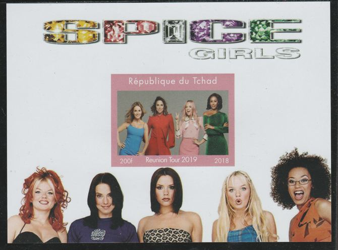 Chad 2018 Spice Girls Reunion imperf souvenir sheet unmounted mint. Note this item is privately produced and is offered purely on its thematic appeal.