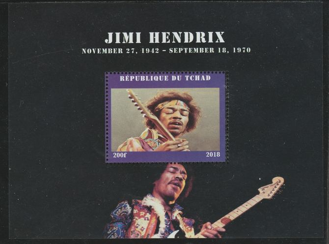 Chad 2018 Jimi Hendrix perf souvenir sheet unmounted mint. Note this item is privately produced and is offered purely on its thematic appeal.