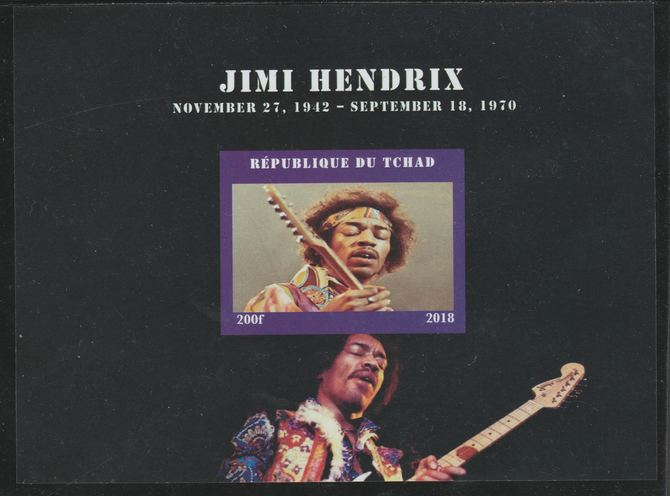 Chad 2018 Jimi Hendrix imperf souvenir sheet unmounted mint. Note this item is privately produced and is offered purely on its thematic appeal.