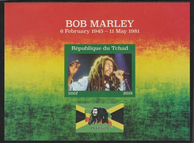Chad 2018 Bob Marley imperf souvenir sheet unmounted mint. Note this item is privately produced and is offered purely on its thematic appeal.
