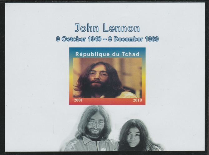 Chad 2018 John Lennon imperf souvenir sheet unmounted mint. Note this item is privately produced and is offered purely on its thematic appeal.