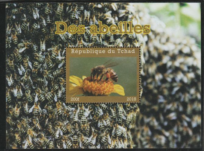 Chad 2018 Bees perf souvenir sheet unmounted mint. Note this item is privately produced and is offered purely on its thematic appeal.