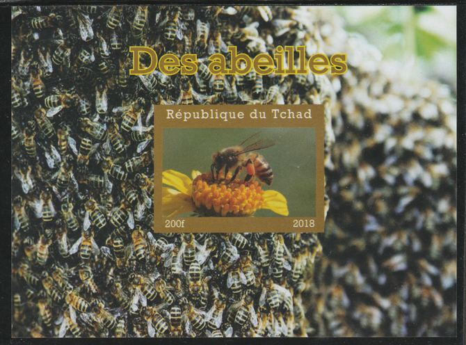 Chad 2018 Bees imperf souvenir sheet unmounted mint. Note this item is privately produced and is offered purely on its thematic appeal.