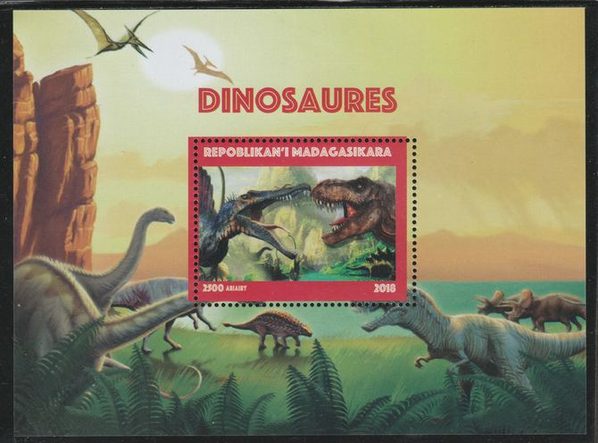 Madagascar 2018 Dinosaurs perf souvenir sheet unmounted mint. Note this item is privately produced and is offered purely on its thematic appeal.