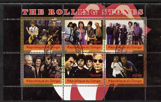 Congo 2009 The Rolling Stones perf sheetlet containing 6 values fine cto used