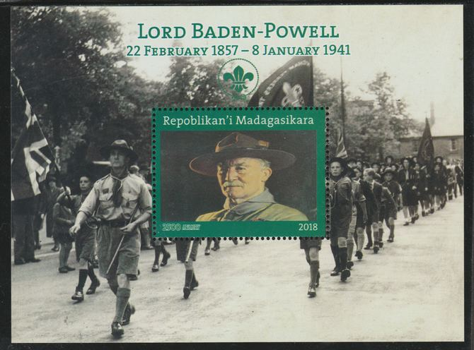 Madagascar 2018 Lord Baden Powell perf souvenir sheet unmounted mint. Note this item is privately produced and is offered purely on its thematic appeal.